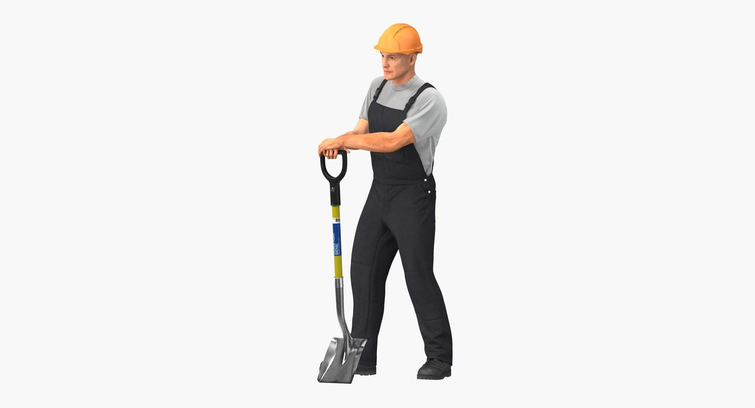 construction worker stand shovel 3D model