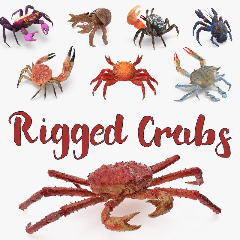 3D model rigged crabs 3