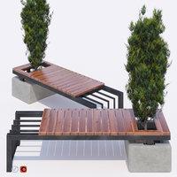 3D thuja bench
