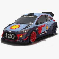 3D low-poly hyundai i20 wrc model