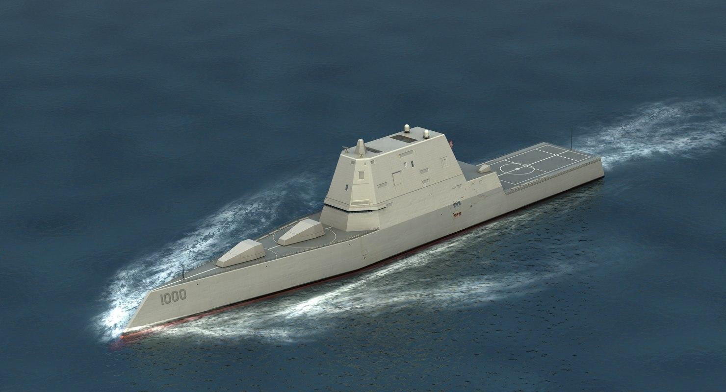 3D model zumwalt class stealth destroyer