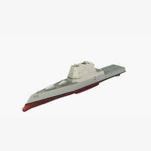 3D model zumwalt class stealth destroyer