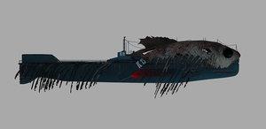 3D submarine camouflaged fish skin model