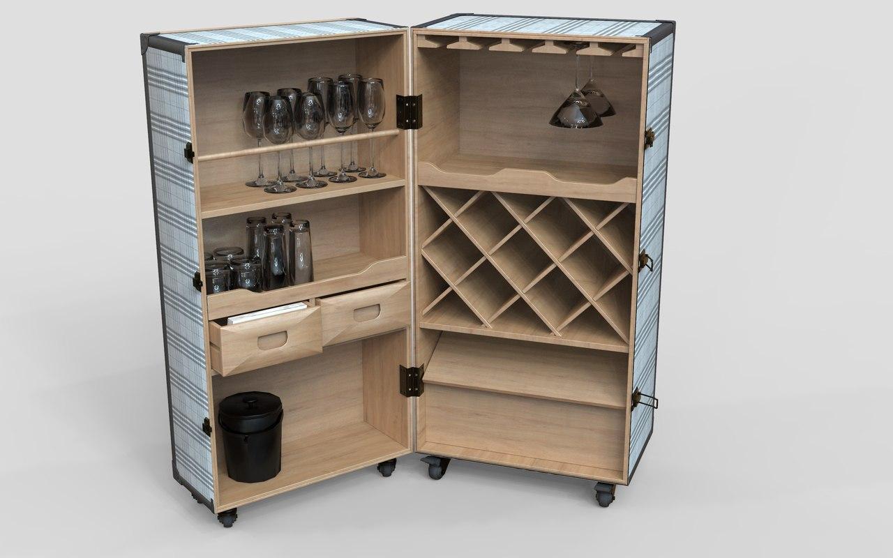 realistic wine cabinet ready 3D model
