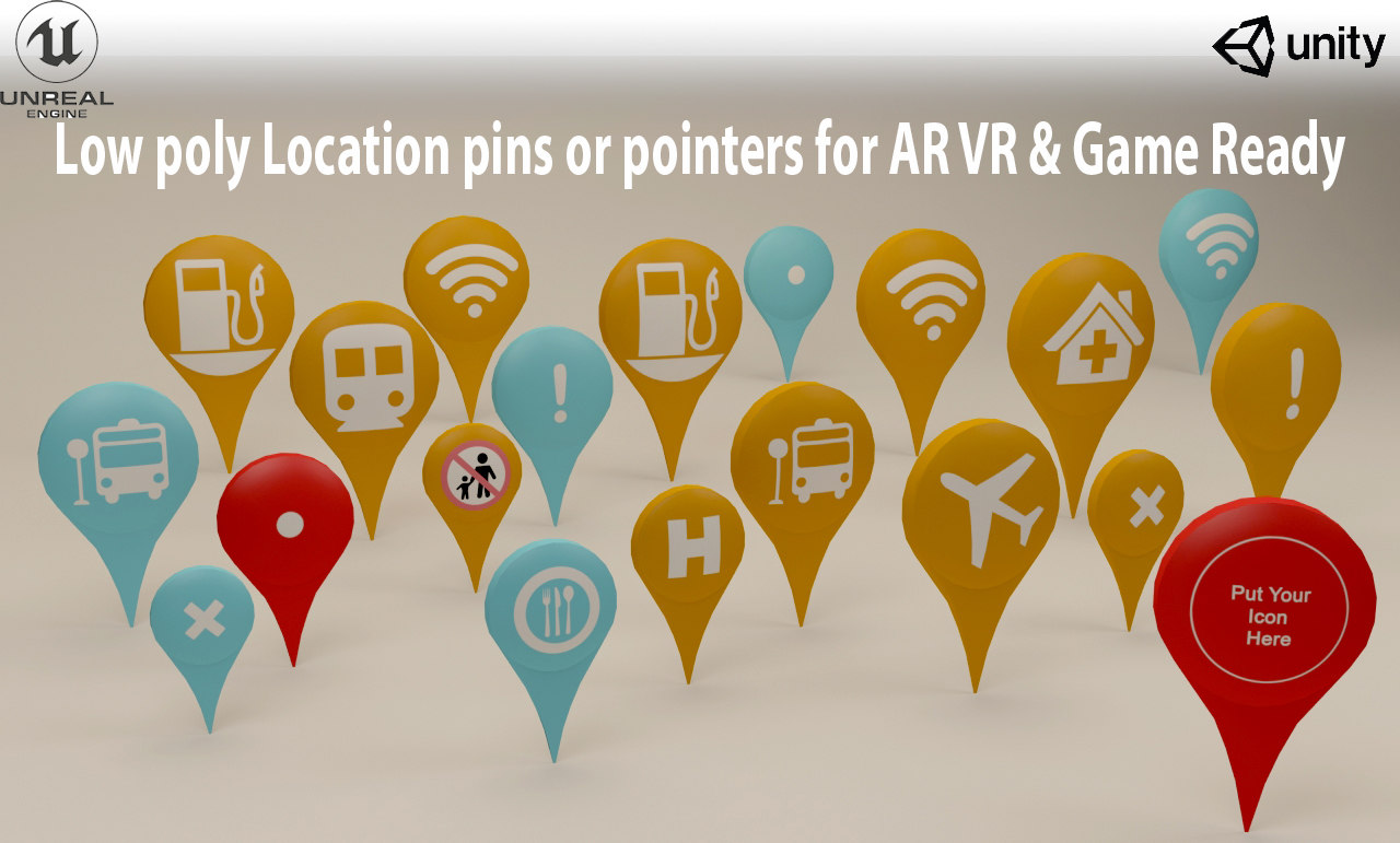3D location pins icons low-poly