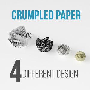 3D model crumpled paper