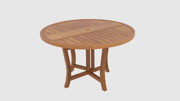3D model wooden folding table