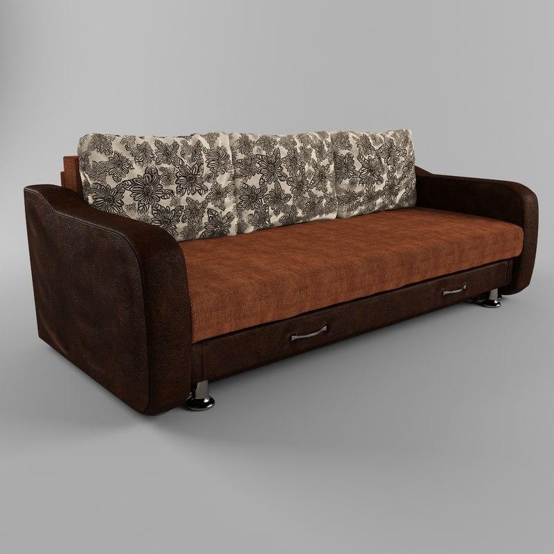 3D sofa leather armrests model