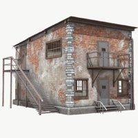Brick Building Low Poly PBR