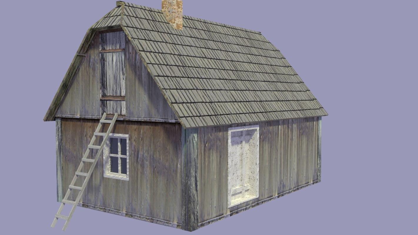 wooden house balcan 3D model