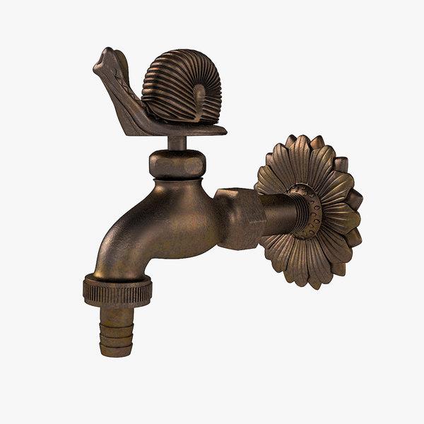 3D decorative garden faucet model