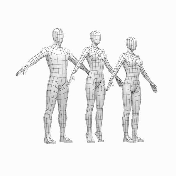 human male female bodies 3D model