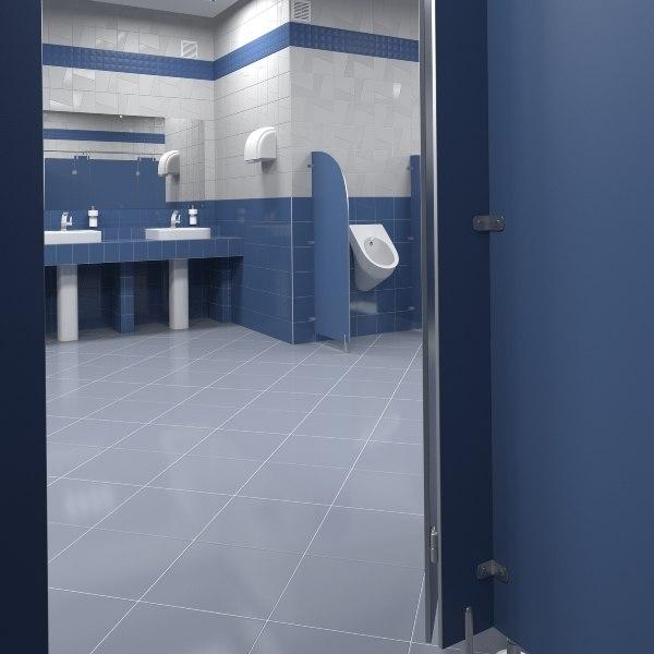 3D public toilet model