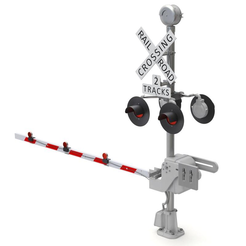 3D crossing railroad road model