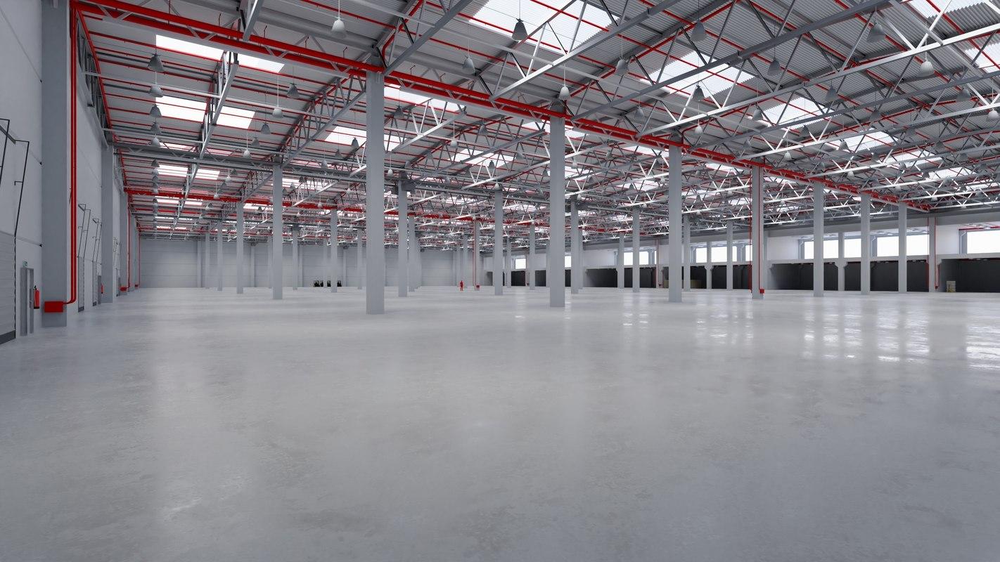 industrial warehouse interior 8 3D model