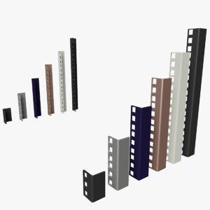 19-inch rackmount rails racks 3D model