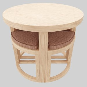 3D wood table chair model