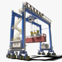 rubber-tyred gantry crane 3D model