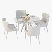 Tonelli Unity Round Glass Dining Table and Chair Set