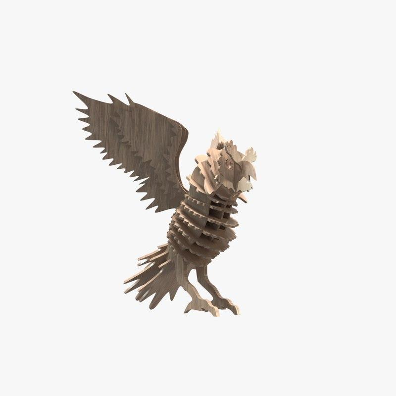 laser cut owl 3D