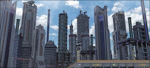 3D sci-fi city model