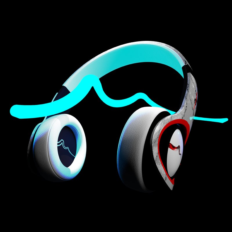 3D model headphones character