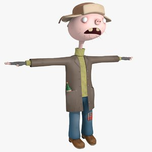 funny cartoon hobo model
