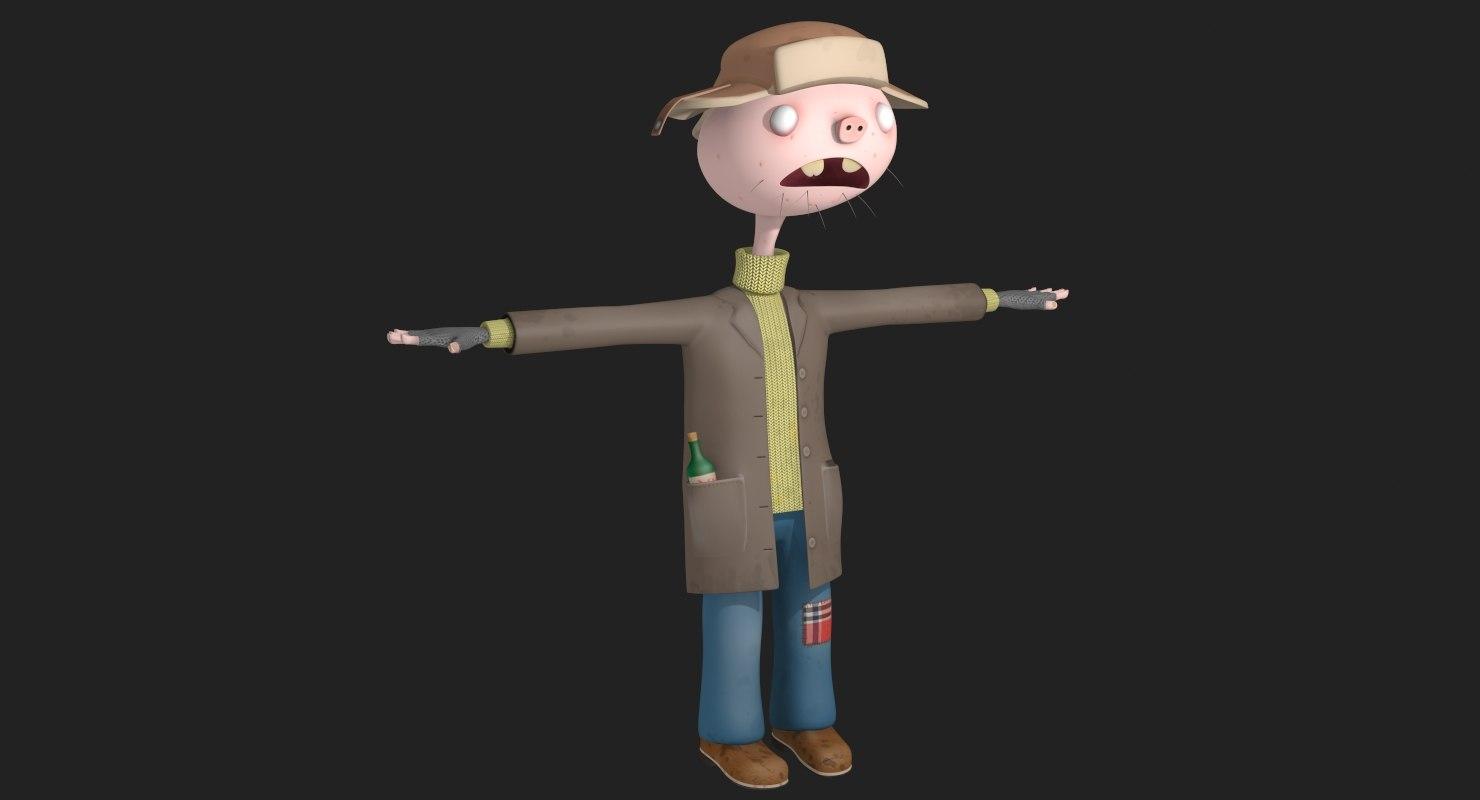 funny cartoon hobo model