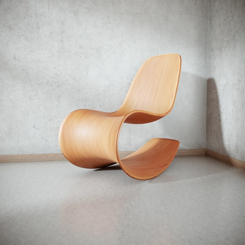 3D chair wooden rocking