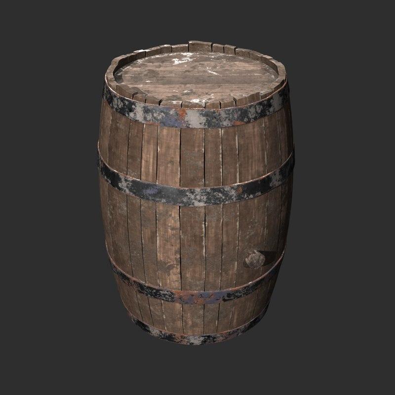 old wooden barrel 3D model