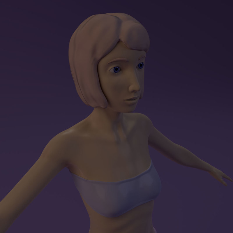 girl cartoon cartoony 3D model