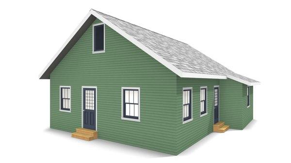 3D model bungalow house