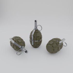 3D f1 handgrenade pbr model