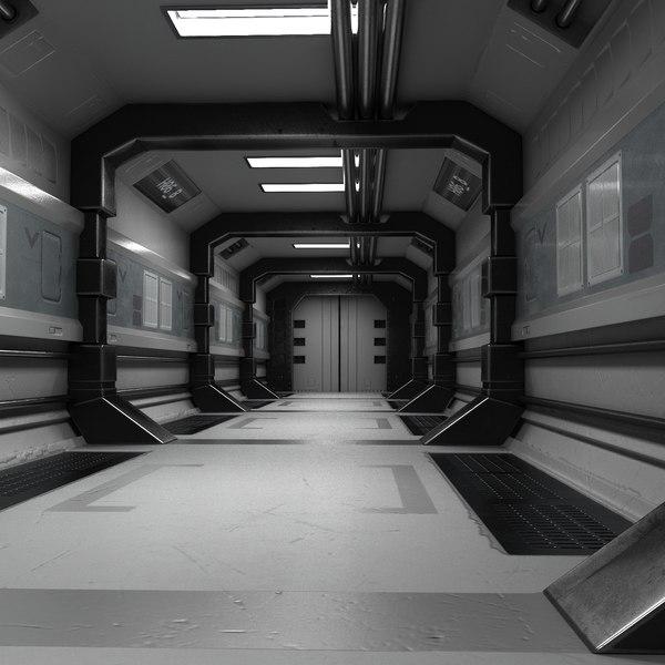 3D scifi hallway