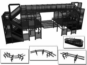 sci-fi modular tram kit 3D model