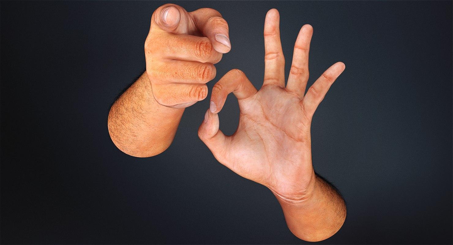 3D model hands rig