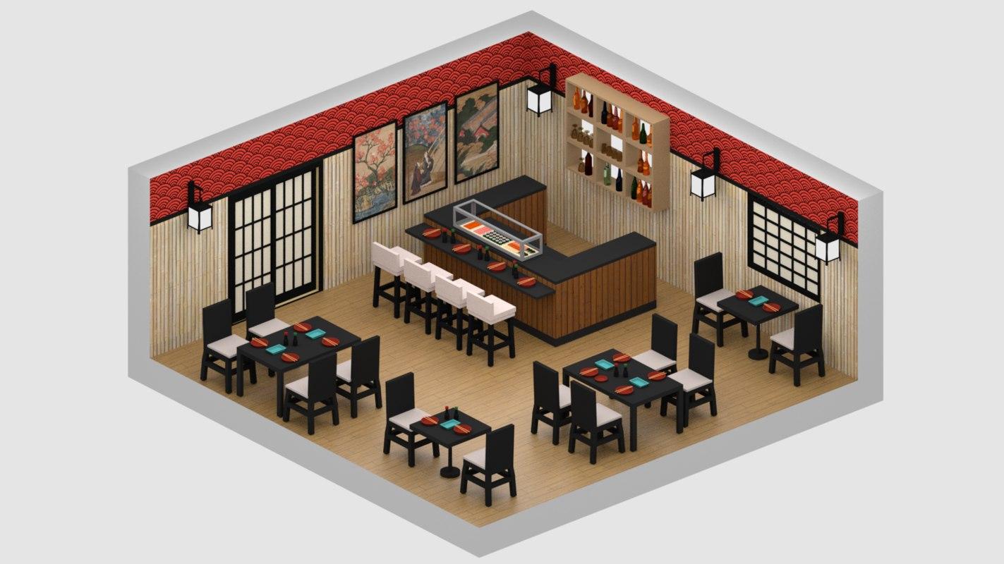 3D japanese restaurant model