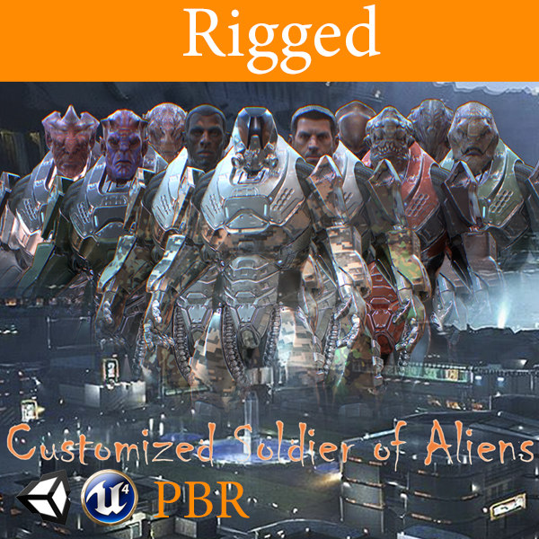 3D pbr customized soldier aliens model