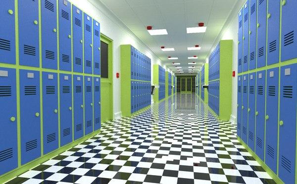 3D school corridor interior