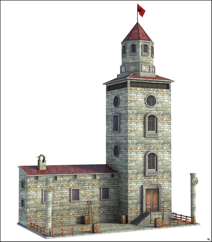 3D fantasy tower surveillance model