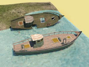3D fishing boat wrecked