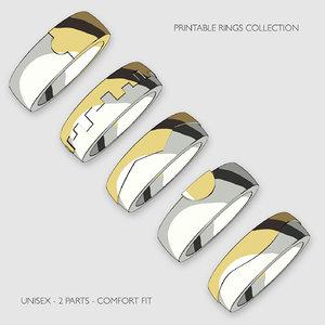 printable unisex rings pack 3D model