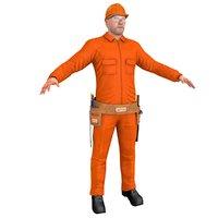 3D worker man hammer