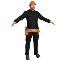 worker man hammer 3D model