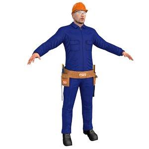 3D worker man hammer model