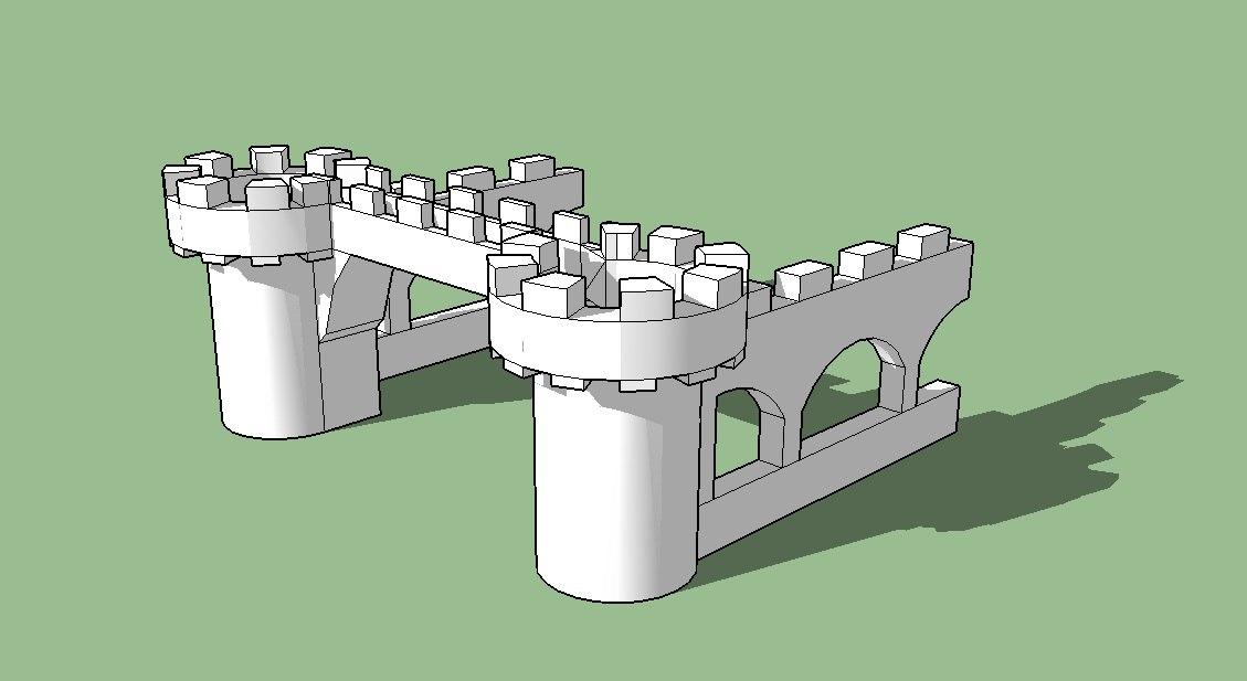3D barbacana castillo medieval model