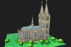 3D architectural cathedral cologne world model