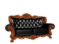 European leather double sofa