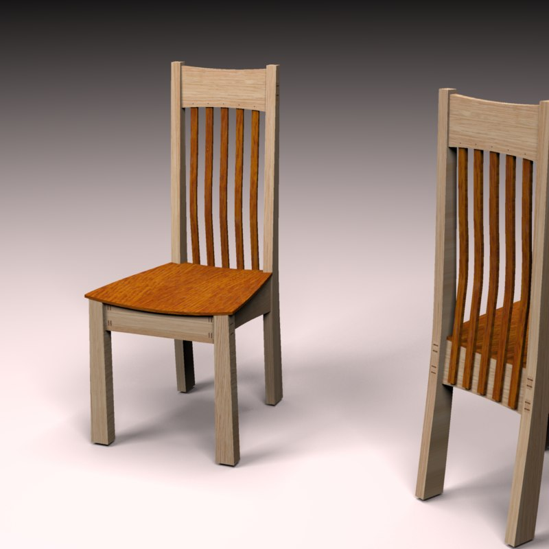 chair dining table wood 3D model