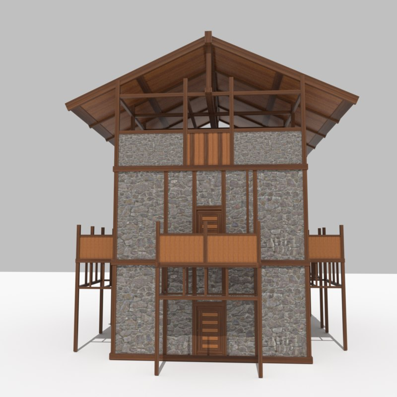 medieval outpost building interior model